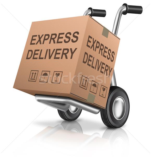 Expressz szállítás kartondoboz kéz teherautó szöveg rendelés Stock fotó © kikkerdirk