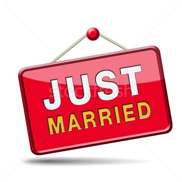 Friss házasok gomb ikon felirat matrica házasság Stock fotó © kikkerdirk