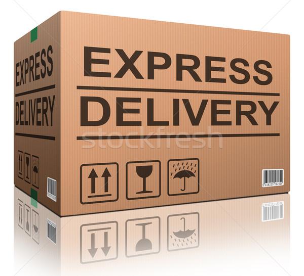 Expressz szállítás kartondoboz gyors küldés sebesség csomag Stock fotó © kikkerdirk