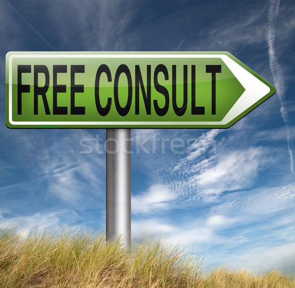 Kostenlos konsultieren Beratung helfen Schreibtisch fragen Stock foto © kikkerdirk
