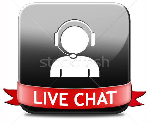 Stockfoto: Live · chat · knop · icon · online