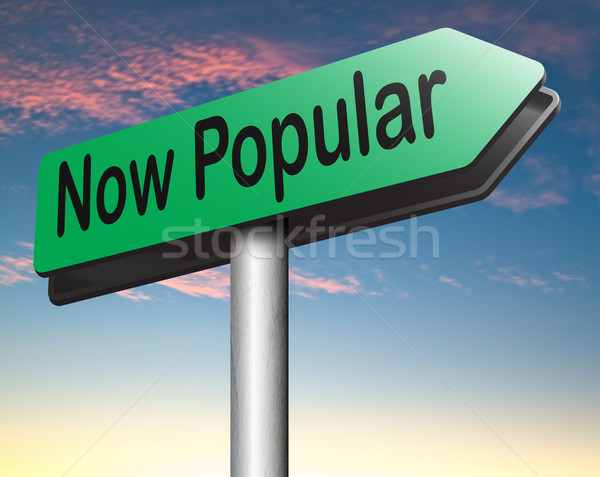 Popular agora moda tendência placa sinalizadora idéia Foto stock © kikkerdirk