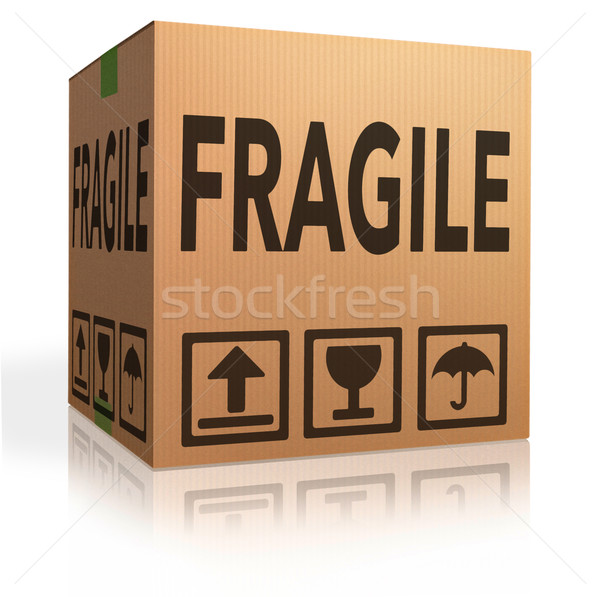 Fragile paquet texte boîte magasin Photo stock © kikkerdirk