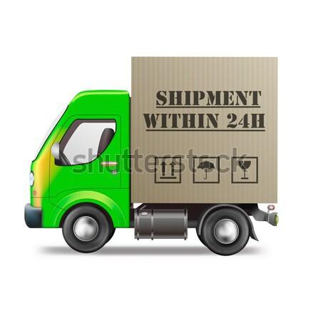Snel pakketdienst vrachtwagen geïsoleerd Stockfoto © kikkerdirk