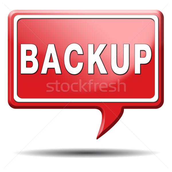 Biztonsági mentés ikon felirat adat szoftver másolat Stock fotó © kikkerdirk