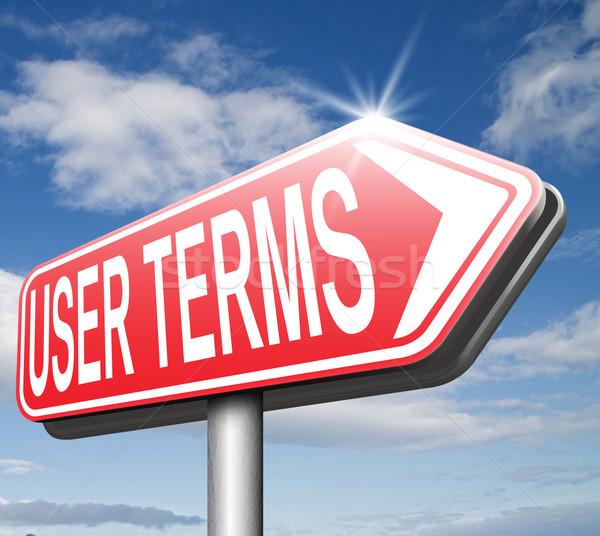 Felhasználó internet szerződés jogi szöveg szó Stock fotó © kikkerdirk