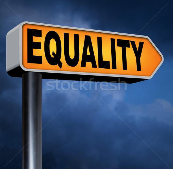 égalité panneau routier solidarité égal droits Photo stock © kikkerdirk