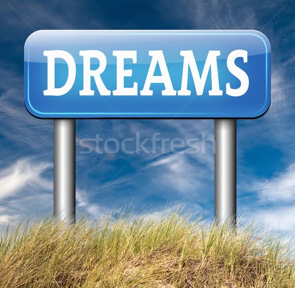álmok álom gyártmány jött felirat jövő Stock fotó © kikkerdirk