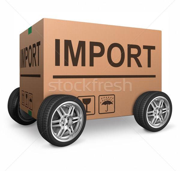 Import karton kopia przestrzeń odizolowany biały brązowy Zdjęcia stock © kikkerdirk