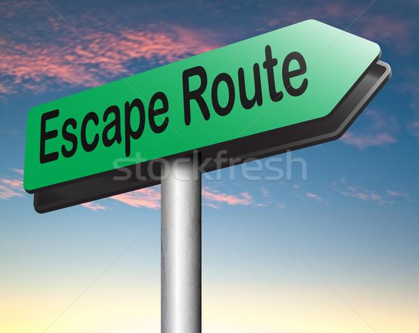 Flucht Route Sicherheit Schild weg Sicherheit Stock foto © kikkerdirk