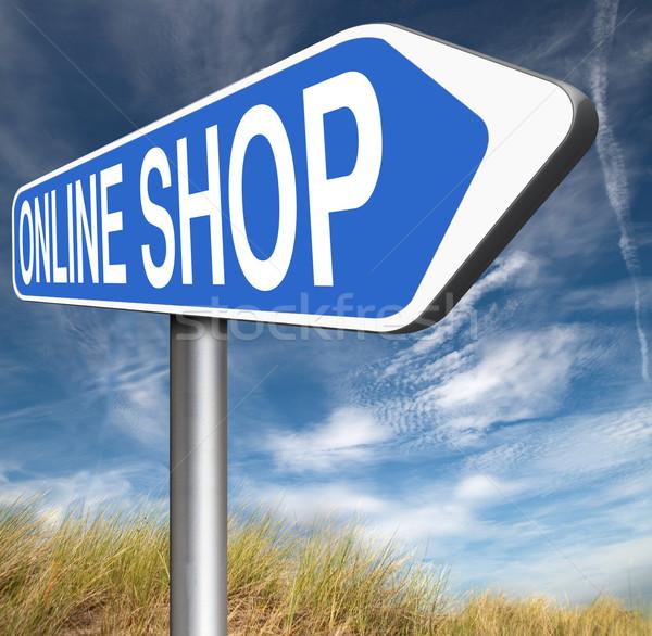 Online bolt internet háló jelzőtábla webshop Stock fotó © kikkerdirk