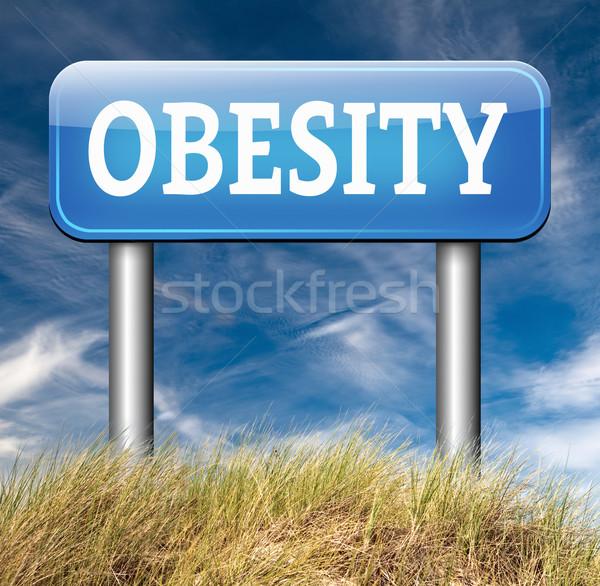 Fettleibigkeit Gewicht Ernährung Schild Gesundheit Zeichen Stock foto © kikkerdirk
