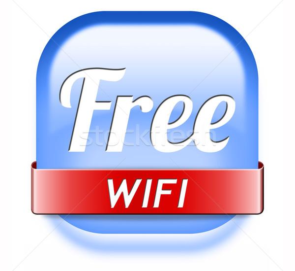 свободный wi-fi интернет доступ икона кнопки Сток-фото © kikkerdirk
