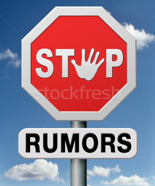 Stoppen geruchten praatjes Rood informatie concept Stockfoto © kikkerdirk