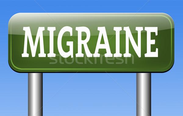 Migrén fejfájás szükség fájdalomcsillapító felirat ötlet Stock fotó © kikkerdirk