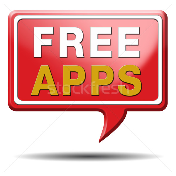 free apps red text balloon Stock photo © kikkerdirk