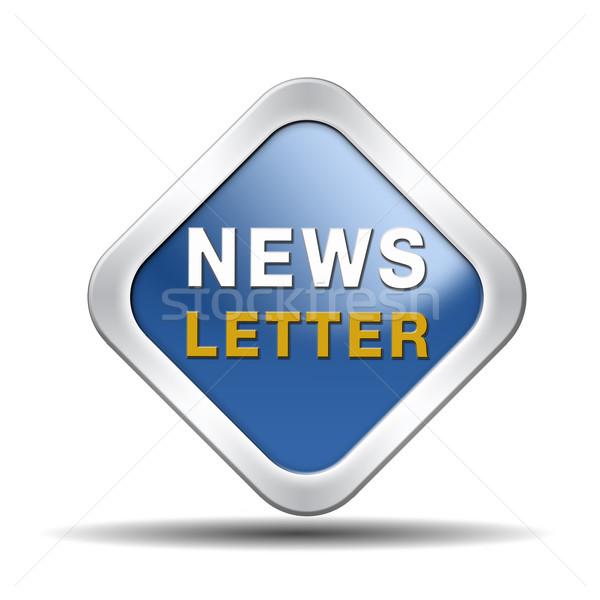 Hírlevél kék ikon forró rendkívüli hírek gomb Stock fotó © kikkerdirk