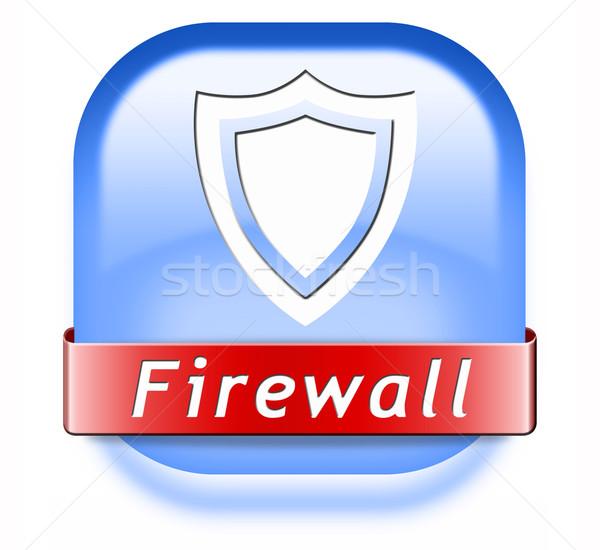 Firewall botão vírus de computador banco de dados segurança Foto stock © kikkerdirk