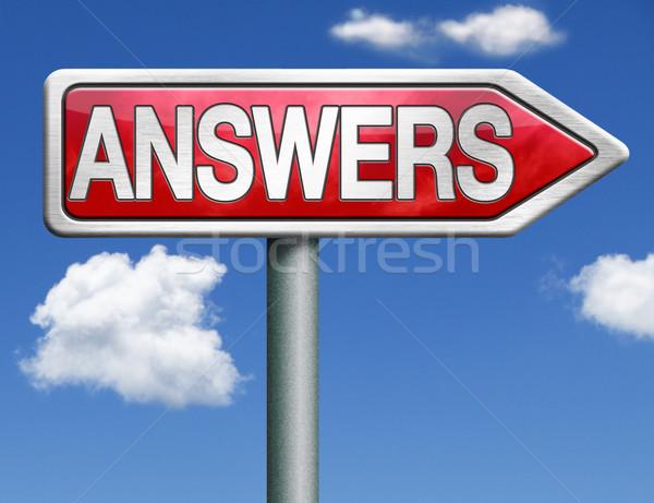 Respostas placa sinalizadora seta encontrar maneira resolver Foto stock © kikkerdirk