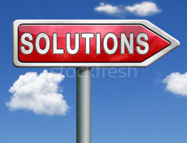 solutions road sign arrow Stock photo © kikkerdirk
