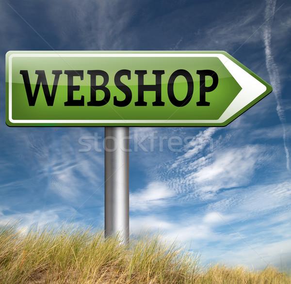 Webshop jelzőtábla vásárol elad online háló Stock fotó © kikkerdirk