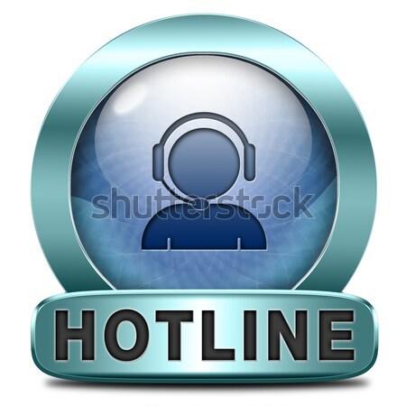 Hotline icon call center knop teken Stockfoto © kikkerdirk