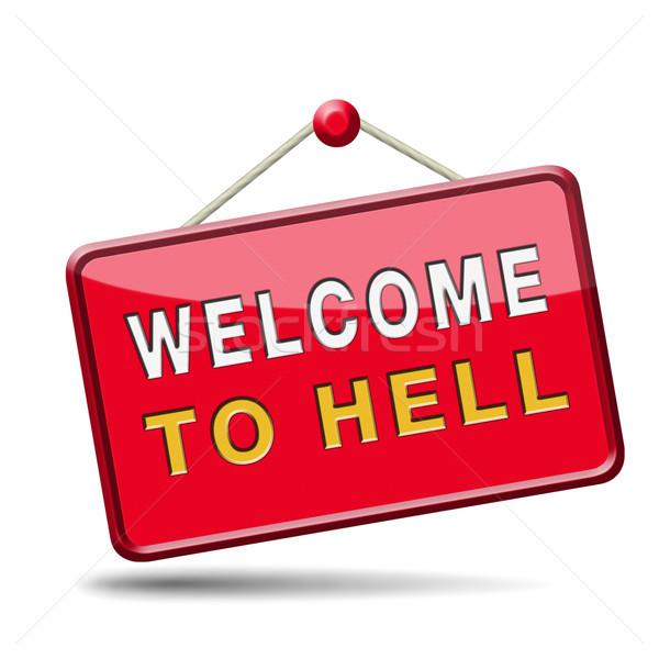 Bienvenida infierno mal diablo desastre signo Foto stock © kikkerdirk
