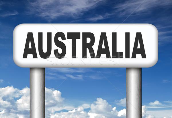 Australien Zeichen nach unten Kontinent Tourismus Urlaub Stock foto © kikkerdirk