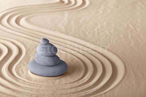 Zen jardín meditación piedra relajación sencillez Foto stock © kikkerdirk