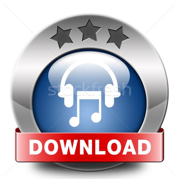 Muziek downloaden knop icon spelen luisteren Stockfoto © kikkerdirk