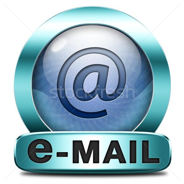 Stock fotó: Email · doboz · postaláda · ikon · gomb · bejövő · üzenetek
