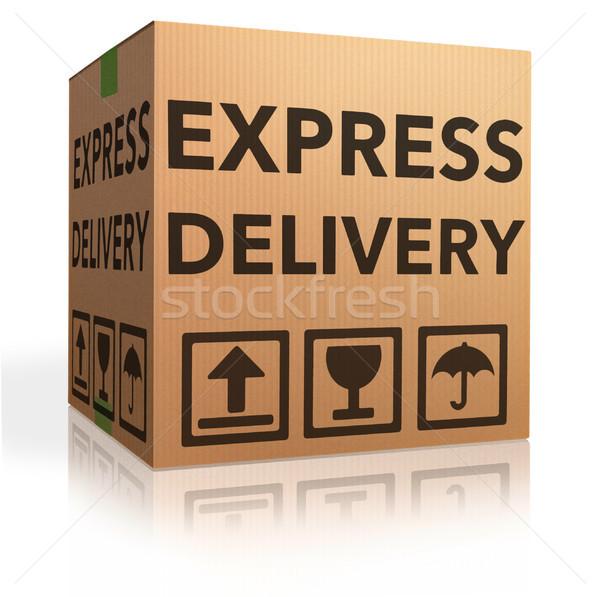 Expressz szállítás kartondoboz különleges szállítmány online internet Stock fotó © kikkerdirk