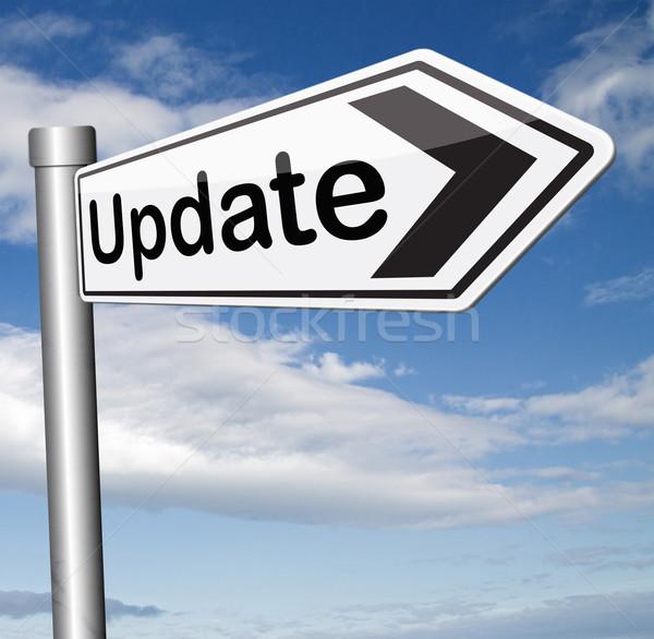 Aktualizacja podpisania oprogramowania teraz tutaj wersja Zdjęcia stock © kikkerdirk
