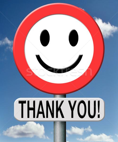 Dank u dank dankbaarheid nota verkeersbord Stockfoto © kikkerdirk