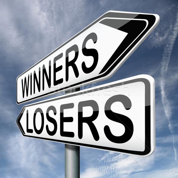 Vencedores vencedor perdedor vitória equipe jogo Foto stock © kikkerdirk