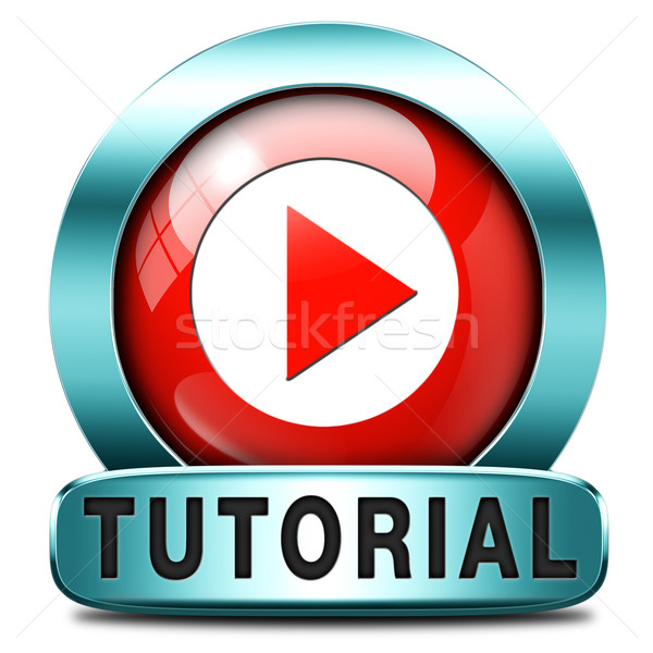 Tutoriel icône apprendre ligne vidéo leçon Photo stock © kikkerdirk