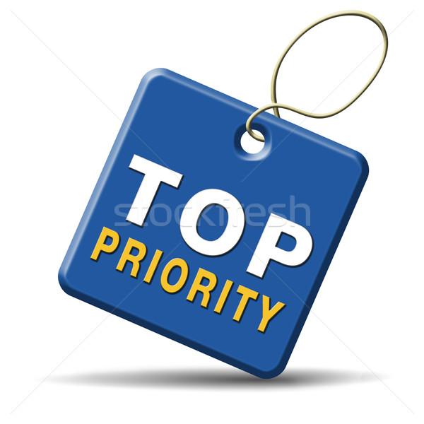 Top prioriteit belangrijk hoog urgentie info Stockfoto © kikkerdirk