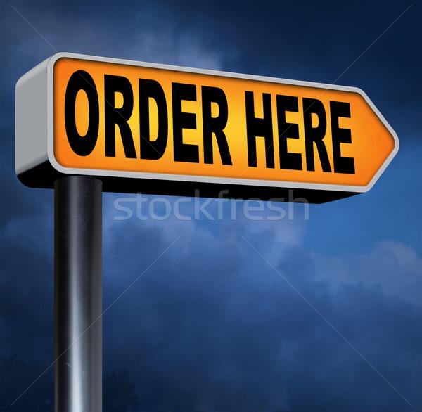 Ordem aqui agora on-line internet Foto stock © kikkerdirk