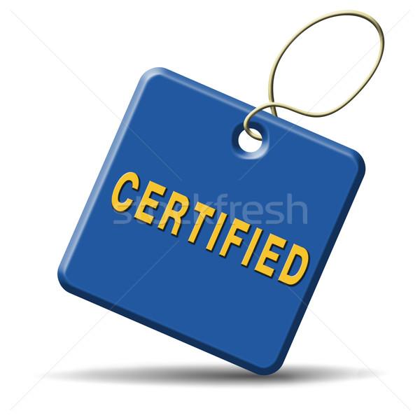 Certificado profissional qualificado vermelho carimbo etiqueta Foto stock © kikkerdirk
