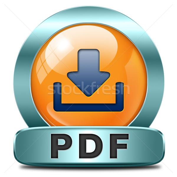 Pdf baixar arquivo documento botão ícone Foto stock © kikkerdirk