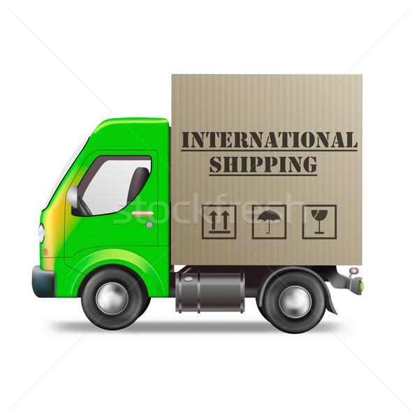 Internationale scheepvaart vrachtwagen wereldwijd globale Stockfoto © kikkerdirk