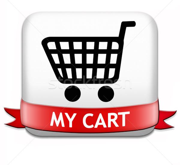 Mijn winkelwagen winkelwagen knop winkelen om Stockfoto © kikkerdirk