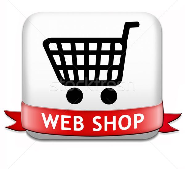 Háló bolt gomb online vásárlás ikon internet Stock fotó © kikkerdirk