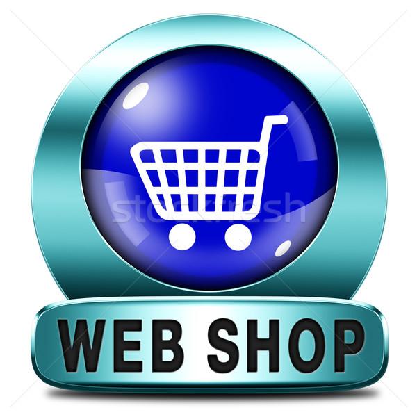 Háló bolt ikon online vásárlás gomb internet Stock fotó © kikkerdirk