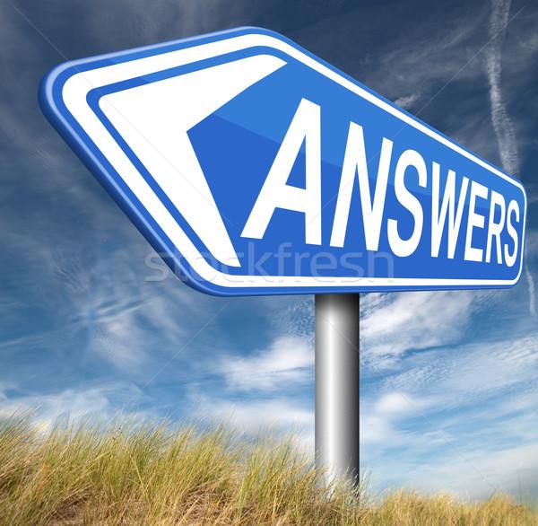 Antwoorden oplossen problemen Zoek vragen Stockfoto © kikkerdirk