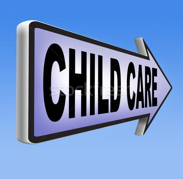 Gyermekgondozás óvoda gyereknevelés védelem gyermekbántalmazás felirat Stock fotó © kikkerdirk