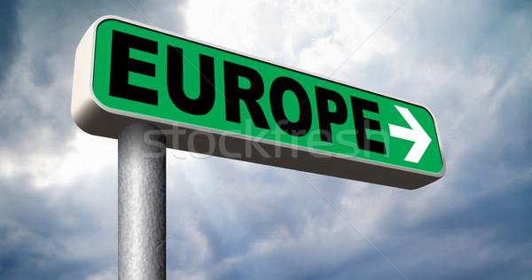 Europe direction vieux continent Voyage Photo stock © kikkerdirk