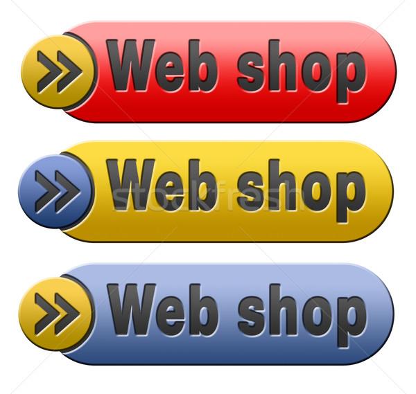Webshop knop online winkelen icon internet web Stockfoto © kikkerdirk