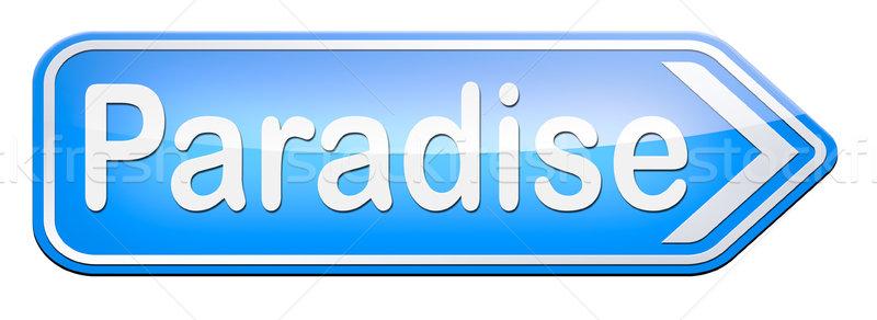 ストックフォト: 楽園 · 道路 · 方法 · 天国 · 幻想的な · ビーチ