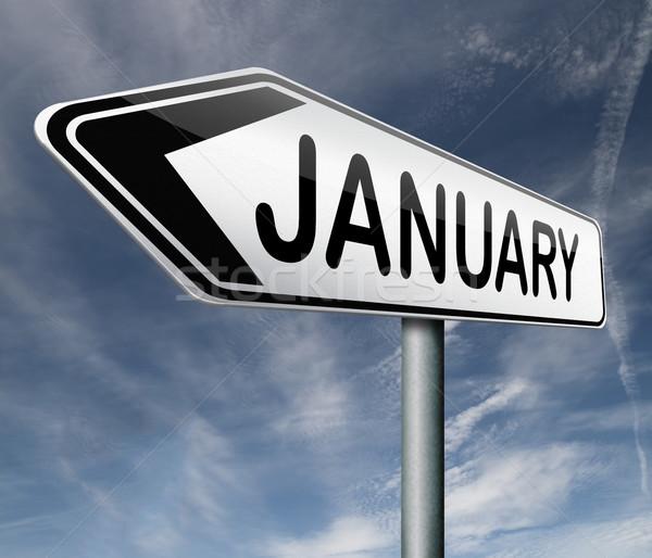 месяц дорожный знак календаря зима информации пути Сток-фото © kikkerdirk